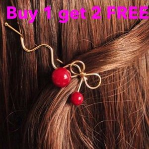 Jewelry - Red cherry hair clip hairpin Rose gold plated
